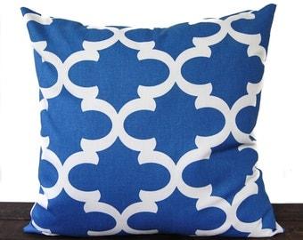 Throw Pillow, Pillow Cover, Cushion, Decorative Pillow, Cobalt Marine Blue White geometric modern decor Fynn