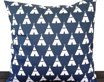 Pillow, Throw Pillow, Pillow Cover, Cushion, Decorative Pillow, Premier Navy Blue White Tee Pee southwestern aztec decor