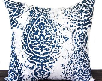 Pillow, Throw Pillow, Pillow Cover, Cushion, Decorative Pillow, Premier Navy Blue White Manchester paisley
