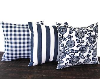 Set of three Throw Pillow covers, Pillow Covers, Cushion, Decorative Pillow, Premier Navy Blue White geometric modern decor