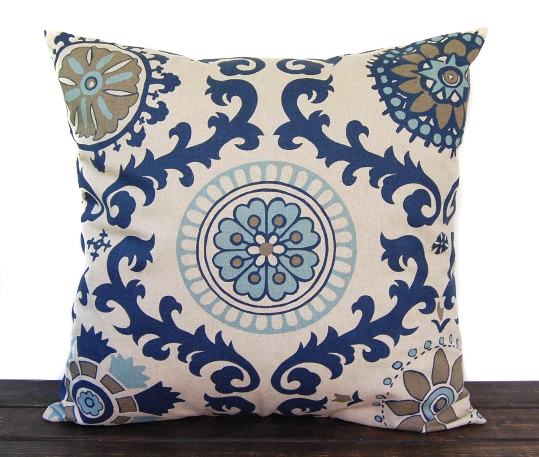 Indigo Blue Throw Pillow : Navy Indigo Blue pillow cover throw pillow one by ThePillowPeople