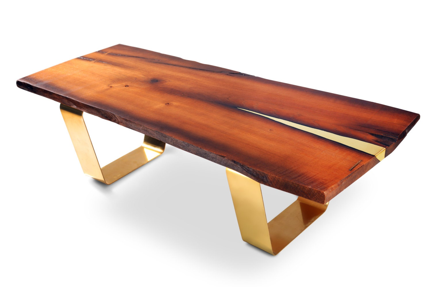 Live edge coffee table antra modern coffee table brass for Interesting tables