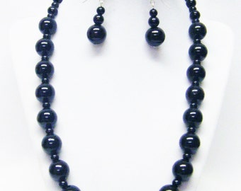 Black Round Glass Beaded Necklace/Bracelet & Earrings Set