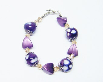 Purple & White Ceramic Bead Bracelet