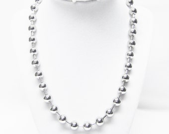 Silver Finished 10mm Ball Chain Necklace