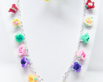 Multicolored Polymer Clay Flower Beads Necklace/Yellow Earrings Set