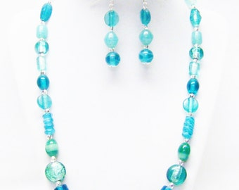 Assorted Aqua Green Lamp Work Glass Bead Necklace/Bracelet & Earrings Set