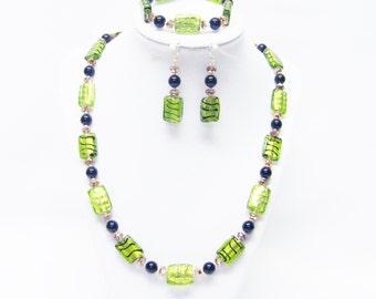 Flat Green Foil Lined Rectangle Glass Bead Necklace/ Bracelet/Earrings Set