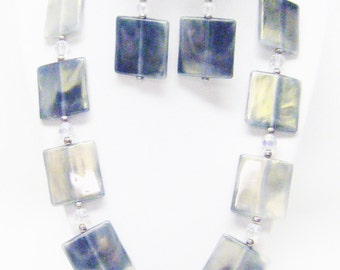 Large Square Silvery Grey Shell Bead Necklace & Earrings Set