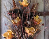 Flower Bouquet Dried Pod Gold Bronze Brown Feather Woodland Earth Tones Natural Large Tall Cabin Wild Grass