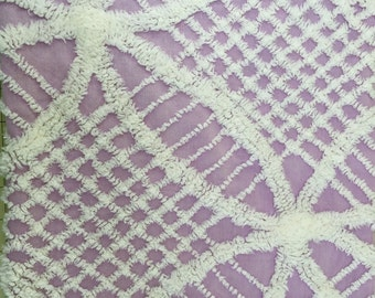 Vintage Purple Double Wedding Ring  Chenille Bedspread FQ