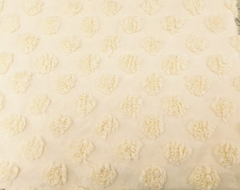 Vintage Yellow Chenille Bedspread FQ