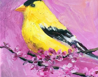 "Original small bird painting ""The Yellow Bird"" 6"" x 6"" acrylic on canvas. Animal/bird painting. cottage decor. Home decor art."