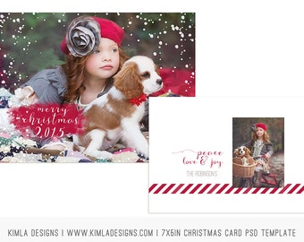 7x5in Christmas flat Card PSD Template