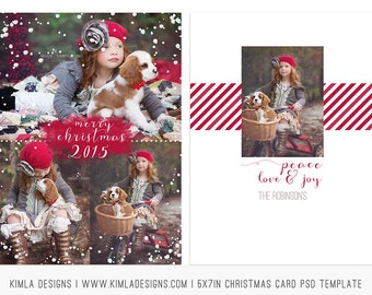 5x7in Christmas flat Card PSD Template