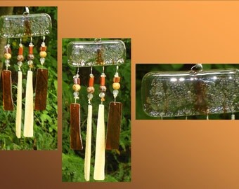 Amber Glass Windchimes, Fused Glass, Garden Decor, Stained Glass Window Suncatcher, Small Windchime Mobile