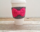 Crochet Cup Sleeve - Pink Coffee Cozy - Wedding Cozy - Beer Cozy - Wedding Favor - Coffee Cup Cozy - Knit Coffee Cozy - Stocking Stuffer