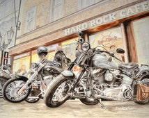 Harley-Davidson Legends, Large Wall Art, Motorbikes, Retro Art, Classic Motorcycles, Retro Paintings, Harley Davidson, Limited Edition Print