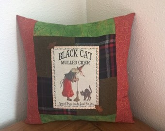 Black Cat Halloween Pillow - Home Decor - Handmade