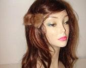 HP-2 Medium size Light Brown Mink Fur Bow Barrette Hairpiece Decoration Pin Gift