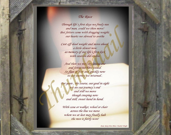 "Poem, ""The Race"" an original poem on an original photograph framed in our handmade salvaged wood 8X10 frame."