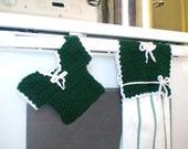 Crochet Prairie Dress Hot Pad and Kitchen Towel Holder Set - Adorable Prairie Themed Kitchen Accessories