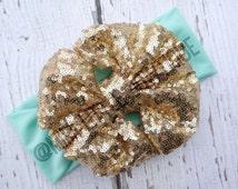 Sparkle Mint and Gold  Head wrap- Girl Turban-Baby Boho headband- Sparkle sequin Bow - Gold Mint green Headband- mint Sparkle  Head wrap
