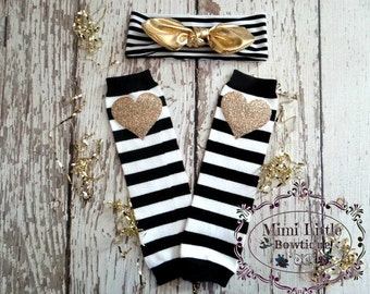 Gold heart baby leg warmers and Top knot set - Black and white white leg warmer, baby leg warmers- Sparkle leg warmers