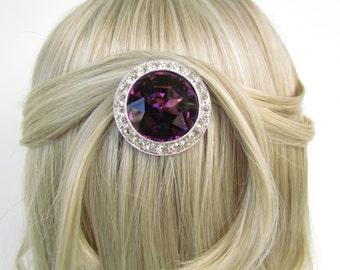 dark purple amethyst lavender silver crystal rhinestone bridal hair comb art deco wedding head piece headpiece vintage inspired purple hair