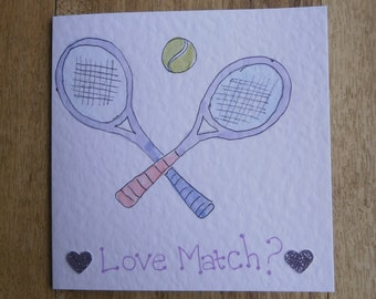 Love match. Individually handmade Tennis greetings card suitable for any occasion