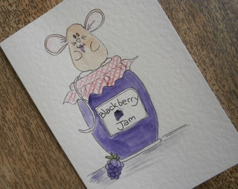 Jam Mouse greetings card. Individually hand painted original illustration. Suitable for any occasion