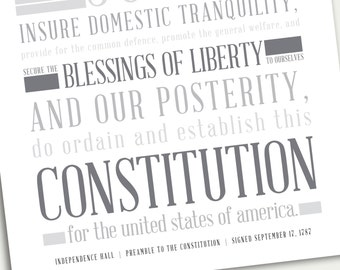 INSTANT DOWNLOAD  Constitution Preamble- United States History - Educational Classroom Poster