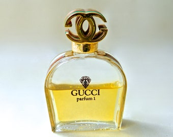 Vintage GUCCI Parfum 1 Pure Perfume 1 oz in Original stunning Bottle Gold Plate Enamel 50% Full