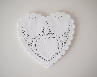 """Lovely 4""""  Heart Shape Lace Doilies Paper (100 sheets) 10cm - craft/packaging/decorating/scraping/gift wrapping/food"""