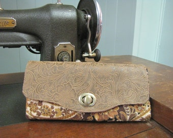 Brown and Gold Floral Paisley Necessary Clutch Wallet
