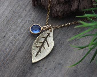 Gold Leave Necklace. Leaf Necklace, Jennifer Aniston Leaf Necklace. Gold Initial Necklace, CHOOSE Initial OR Birthstone
