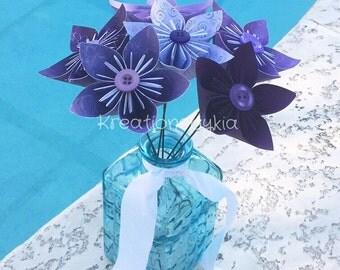 Origami/Kusudama Purple Flower Bouquet