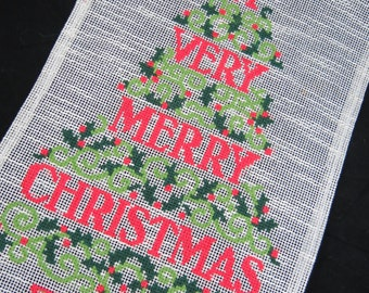 Christmas Wall Hanging -  Merry Christmas Needlework -  Christmas Wall Decor - Christmas Tree Wall Hanging - Free Shipping - 9RTT15