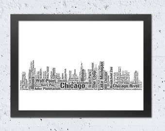 Chicago Print, Chicago Illinois Skyline Print, Words Text Art Typography,Cityscape Print, Printable Modern Home Wall Office Room Nursery Art