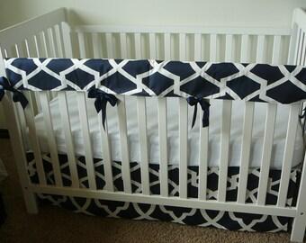 Bumperless Crib Set In Premier Prints Navy Sheffield