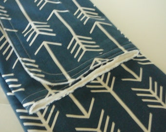 Navy Arrow Minky Baby Blanket