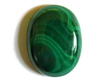 Malachite Cabochon 16X12 mm ~ Natural Banded Green Oval Gemstone Cab