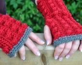 Fingerless Bobble Mitts - Instant Download PDF Crochet Pattern