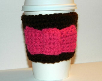 Pink Bow Coffee Sleeve, Crochet Brown Coffee Cozy, Ready To Ship