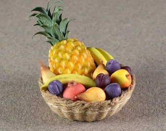 1/12 scale handmade dollhouse miniature round Fruit Basket.