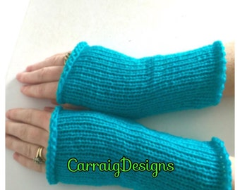 BUY1GET1HALFPrice fingerless mittens turquoise  Womens/teens,long hand knitted gloves,hand wrist arm warmers,unique designer winter,handmade