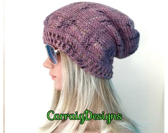 BUY1GET1HALFPRICE Cables unique designer womens/teens hand crocheted/knitted oversized slouch beanie snood hat,pink tweed effect boho tam