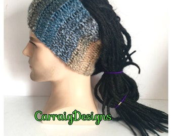 Designer dreadlock headband,mans mens unisex hand crocheted knitted dread tube wrap earth colours irish aussie band xmas gift sale accessori