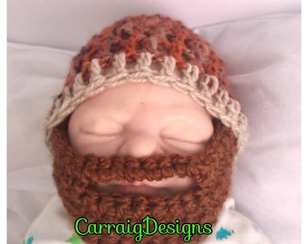 Baby boy beard brown crocheted,knitted hippie hippy,boho,fitted beanie,unique designer,kids newborn hats, shower gift,bearded,toddler hat