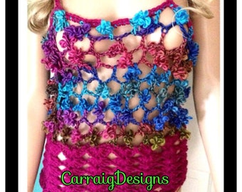SALE Was 37 NOW 25 Womens hand knit/crochet magenta rainbow flower tank,vest,mesh camisole,spring,summer clothes.